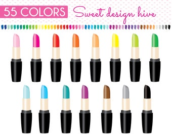 Lipstick Clipart, Make up Clipart, Cosmetics Clipart, Makeup Clipart, Beauty Clipart, Glamour Clipart, Rainbow, Planner Stickers, PL0090