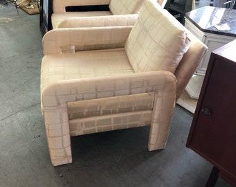 Milo Baughman Style Club Chairs, Pair