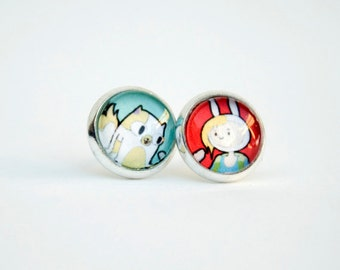 Adventure Time Fionna and Cake / Finn and Jake Earrings