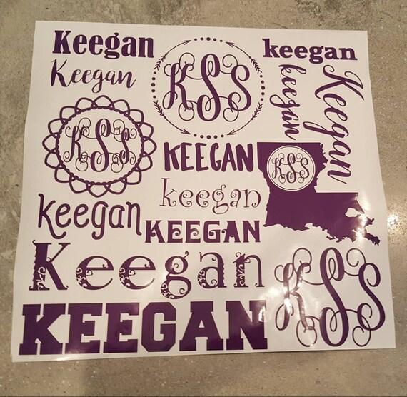 Vinyl sticker name and Monogram 12x12 sheet