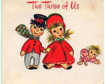 Used c1960s Christmas card, dolls, good shape
