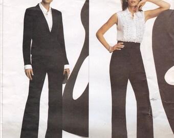 Oscar de la Renta Vogue 2766 Tuxedo Pattern Misses' Jacket, Ruffle Blouse & Pants Designer Vogue Sewing Pattern, Size 6 8 10, Part Cut