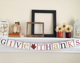 Give Thanks Banner, Thanksgiving Decor, Thanksgiving Banner, Thanksgiving Garland, Give Thanks, Brown Glitter Leaf, B040