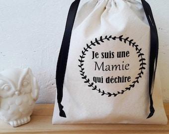 Gift Granny - Bag pouch 22.5 x 18 cm - organic cotton / I'm a grandma who tear