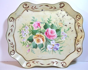 Vintage Cream Shabby Tole Tray, Very Large Tole Tray