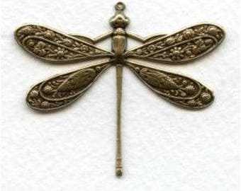 Vintage Victorian Dragonfly Pendant, Focal - Necklace Focal - Antique Brass - Ornate Scrolled Filigree - 50x45mm - 01 Each