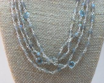 Labradorite and Swarovski Crystal Wrap Necklace