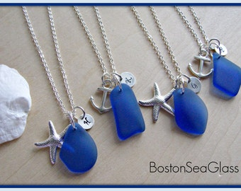 Cobalt Blue Sea Glass Bridesmaid Necklaces Royal Blue Beach Glass Jewelry for Beach Wedding Jewelry with Starfish and Personalized