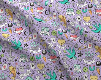 Tattoo Fabric - Tattoo Doodle On Purple By Caja Design - Tattoo Doodles Hearts Birds Diamond Fish Cotton Fabric By The Yard With Spoonflower