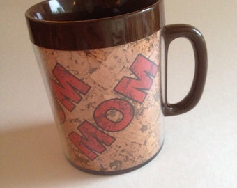 Retro Coffee Mug 1970s Thermo Serv MOM Personalized Insulated Name Cup, Cork Faux Bois Pencil Holder