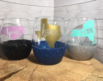 Custom Home State Glitter Wine Glass, Birthday Gift, Christmas Gift, Long Distance Gift