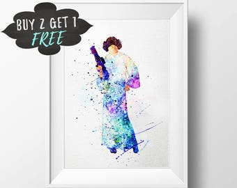 Princess Leia Art Print Poster, Star Wars Nursery Poster Wall Art, Nursery Decor Printable, Instant Download, Star Wars Poster Decor