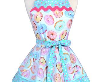 Ruffled Retro Apron - Sweet Treats Glazed Donuts Kitchen Apron - Womens Sexy Cute Pinup Apron with Pocket - Monogram Option