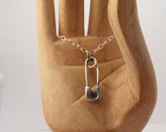 RESERVED FOR REBECCA-  Sterling silver safety pin necklace