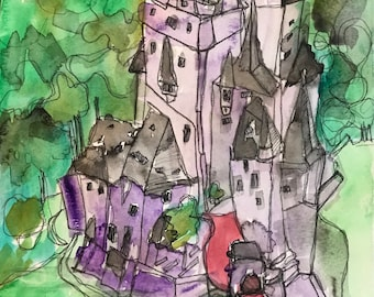 "Castle, Original Watercolor, 9""x12"""