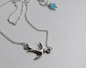 Little Swallow Necklace   Cute Bird Necklace   Silver Bird Charm   Rockabilly Pinup Necklace