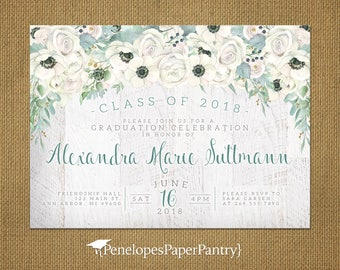 Rustic White Rose Graduation Invitation,Announcement,White Roses,Greenery,White Barn Wood,2018 Grad,Printed Cards,Envelopes,Custom