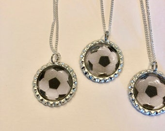 Soccer Ball necklaces made out of bottle caps