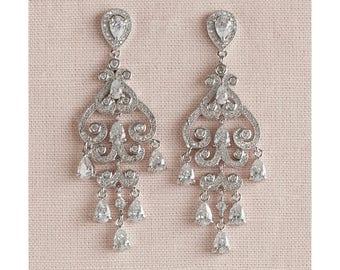 Bridal Earrings, Chandelier wedding earrings, Crystal Bridal Earrings, Wedding jewelry, Swarovski, Charlotte Earrings
