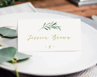 Greenery Wedding Place Cards Editalbe Place Cards Printable Placecards Template DIY Place Cards Instant Download Placecards Template #G02