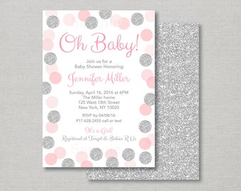 Pink & Silver Baby Shower Invitation / Glitter Dots / Glitter Confetti / Oh Baby / Baby Girl /PRINTABLE A123