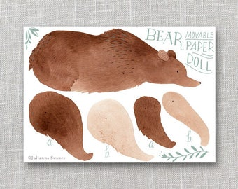 Bear Articulated Paper Doll,  Illustrated Print, Puppet, Craft, Decoration, Scrapbooking