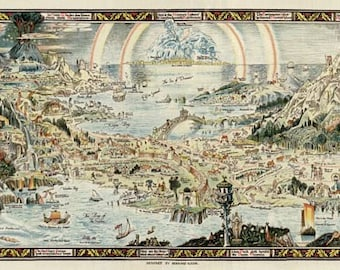 """MP23 Vintage Huge 1920's Map Of Fairyland Mythical Fantasy Poster Print Wall Decor 17"""" x 60"""""""
