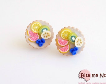 Tiny Fruit Tarts Stud Earrings, Tarts Post Earrings, Fruit Earrings, Fruit Jewelry, Mini Food, Miniature Food, Kawaii Jewelry