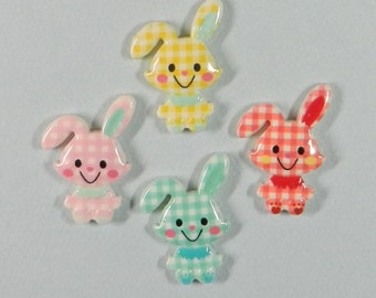 BUNNY cabochons (5) resin, baby shower, baby decor, nursery decor, baby, invitations, scrap booking, card making, gift tags