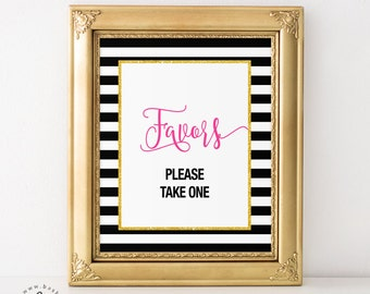 "Black and White Stripes, Gold and Pink, Favors Bridal Shower, Baby Shower, Wedding, Engagement Printable 8"" x 10"" Sign"
