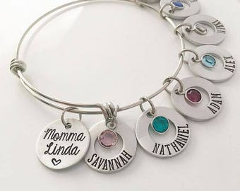 Personalized Mommy Bracelet with Children's Names and Birthstones on a Stainless Steel adjustable bangle, Mother and Child Symbol
