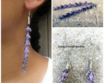 Lavender blossom earrings, realistic real looking, lavender jewelry, lavender accessories, purple flower earrings