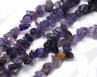 35 Inch Strand Natural Amethyst Nuggets /Chips-7592