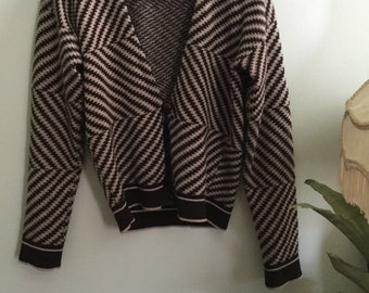 Vintage United Colors of Benetton zigzag super soft grey black cardigan size small