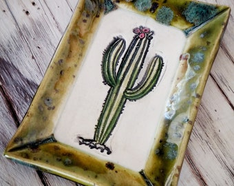 Green Saguaro Cactus handmade ceramic soap dish, spoon rest, ring dish