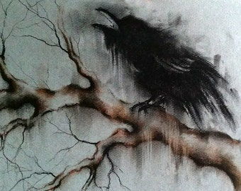 Original Crow Drawing Raven on a Branch Minimalist Black and White Charcoal Drawing 12x8""