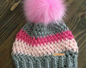 Child Pink and Gray Pom Hat