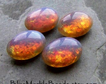 Fire Opal, Opal Glass, Fire Opal Cabochon, Glass Cabochon, Doublet, Harlequin, Foil, Oval Cabochon, Domed, Pointed Back, 14 x 10, 4 Stones