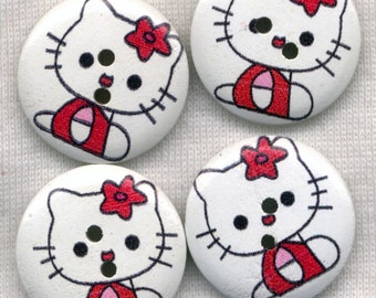 Hello Kitty Buttons Decorated Wooden Buttons 23mm (1 inch) Set of 8 /BT287A
