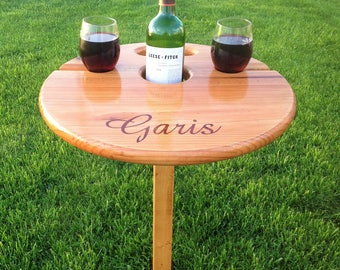 Best Wine Table (folding+portable) Father's Day, Unique gift for wine-lover, personalized gift, birthday, camp, wedding, anniversary, patio