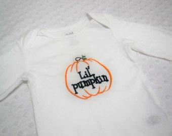 Halloween Baby Bodysuit -Lil Pumpkin Bodysuit - Baby Halloween - Baby's First Halloween -Baby Boy Halloween or Baby Girl Halloween