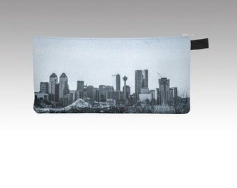 Pencil Case Calgary Skyline Downtown YYC Zip Pouch, Made in Canada by KarenMakes