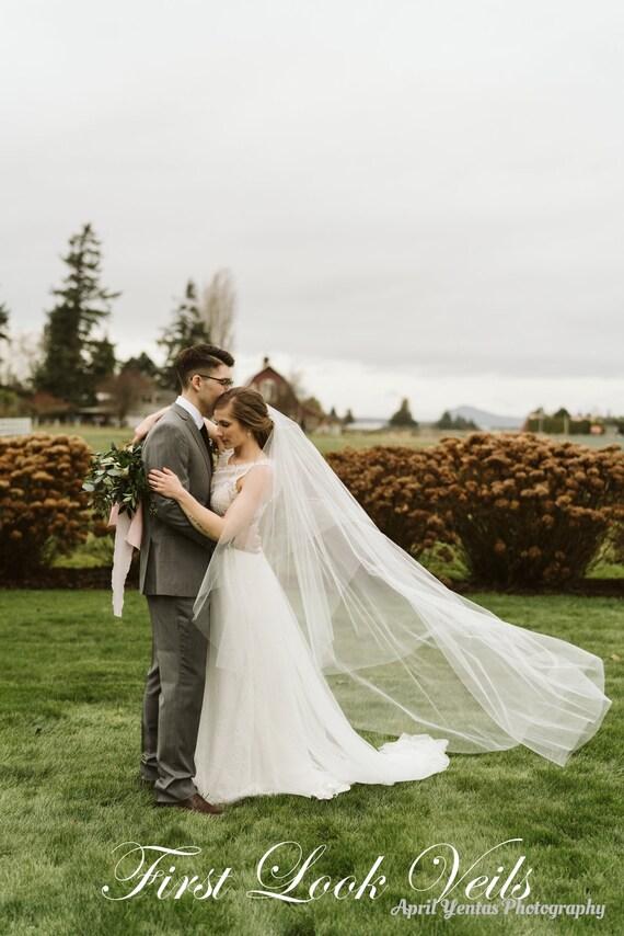 Wedding Veil, Bridal Veil, Ballet Veil, Diamond White, Drop Veil, Handmade, Bride, Accessory, Gift