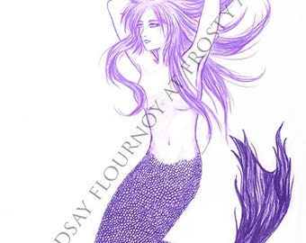 Purple Mermaid 1 - Large Print