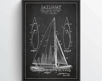 1927 Sailboat Patent Poster, Sailboat Poster, Sailboat Print, Patent Art Print, Patent Print, Blueprint, Home Decor, Gift Idea, NA08P