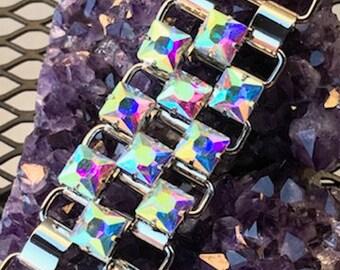 Fabulous Shiney Stunning  Rare  Wide Rhinestone Bracelet  CherryPickersGallery