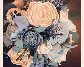 Sola flower bouquet, dusty blue wedding bouquet, navy blue wedding flowers, eco flower bouquet, navy blue sola wood flowers, bridal bouquet