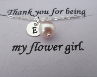 Customized Initial Charm and Pearl Bracelet - Junior Bridesmaid and Flower Girl Gift, Wedding Jewelry Gift