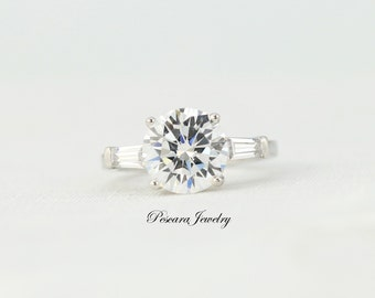 3.3 ctw 3 Stone Engagement Ring - Wedding Ring - Anniversary Ring - Promise Ring - Bridal Ring - Diamond Stimulant - Sterling Silver Ring
