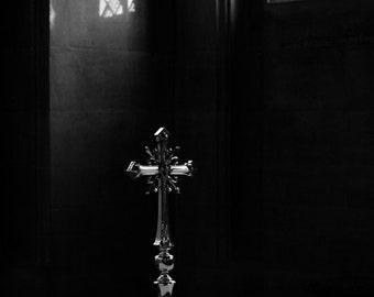 Black and White Photograph - Cathedral Cross Print - English Church Photography - Bury St Edmund's - Christian Art - Christian Cross Photo